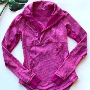 Lululemon Pink Microstriped Half Zip Pullover Sz 6